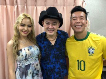 Joe Hirata com Jhony Sasaki e a atriz Amanda