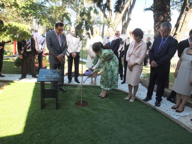 Princesa rega pé de ipê plantado em sua homenagem (Aldo Shiguti)