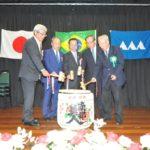 Diretores e autoridades japonesas durante o kagami biraki (Jiro Mochizuki e divulgação)