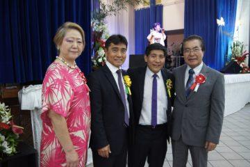 Presidente do Bunkyo, Harumi Goya e deputado Hélio Nishimoto com presidente Ritsutada Takara e Akeo Yogui (Osmar Maeda)