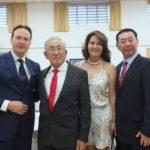 Fumio Horii com o filho Hissao, a nora Miyuki e convidado (Aldo Shiguti)