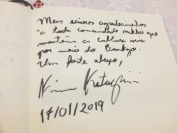 Mensagem escrita por Kim Kataguiri após sua visita ao MHIJB - Aldo Shiguti